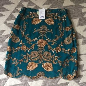 NWT ANTRHOPOLOGIE teal and gold skirt size 8